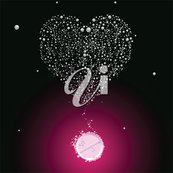 bubbling valentine pill, abstract vector art illustration; image contains transparency