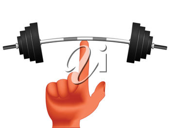 finger holding weights against white background, abstract vector art illustration; image contains gradient mesh
