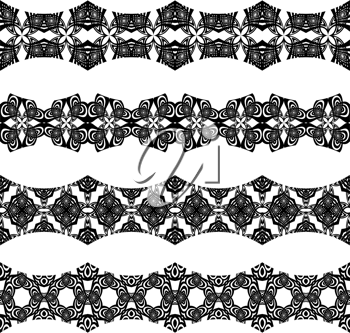 horizontal seamless borders against white background; abstract textures; vector art illustration