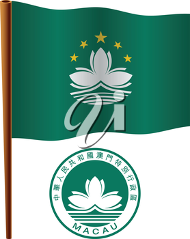 macau wavy flag and coat of arm against white background, vector art illustration, image contains transparency