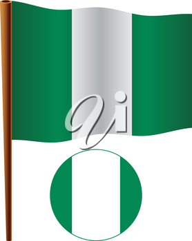 nigeria wavy flag and icon against white background, vector art illustration, image contains transparency