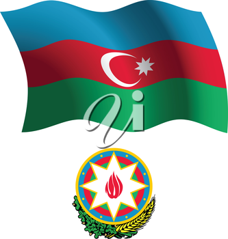 azerbaijan wavy flag and coat of arms against white background, vector art illustration, image contains transparency