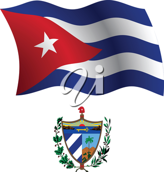 cuba wavy flag and coat of arms against white background, vector art illustration, image contains transparency