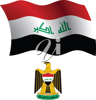 iraq wavy flag and coat of arms against white background, vector art illustration, image contains transparency