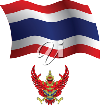 thailand wavy flag and coat of arm against white background, vector art illustration, image contains transparency