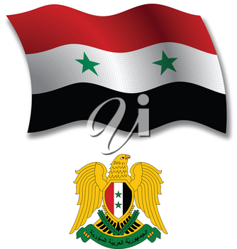 syria shadowed textured wavy flag and coat of arms against white background, vector art illustration, image contains transparency transparency