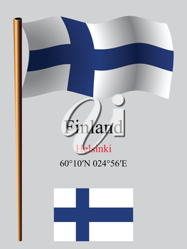 finland wavy flag and coordinates against gray background, vector art illustration, image contains transparency