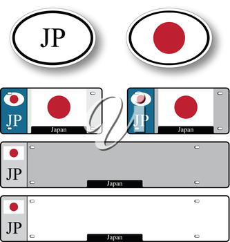 japan auto set against white background, abstract vector art illustration, image contains transparency