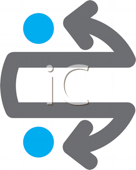 Royalty Free Clipart Image of Arrows and Two Blue Dots