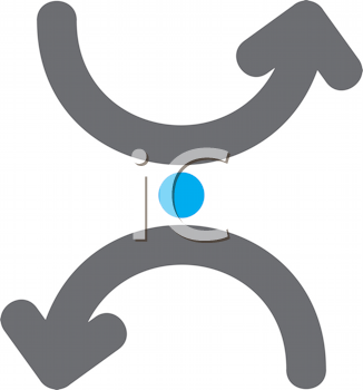 Royalty Free Clipart Image of Curved Arrows and a Dot