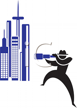 Royalty Free Clipart Image of a Man Looking at Buildings Through a Telescope