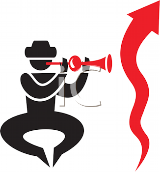 Royalty Free Clipart Image of a Man Blowing a Pungi For a Wiggly Arrow