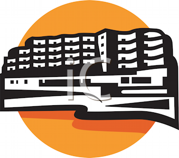 Royalty Free Clipart Image of a Hotel