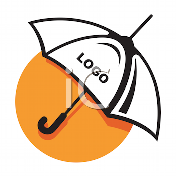 Royalty Free Clipart Image of an Umbrella With Space for a Logo