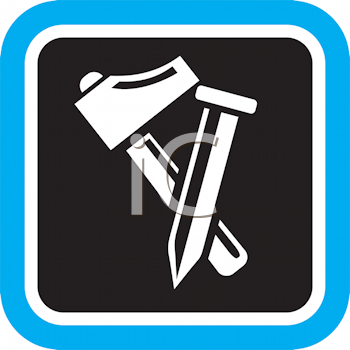 Royalty Free Clipart Image of a Hammer and Nail