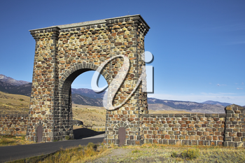 Royalty Free Photo of a Stone Gate to the Yellowstone National Park