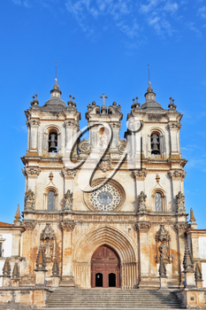Superbly preserved Catholic monastery. The facade and main entrance. Portugal, Alkobasa