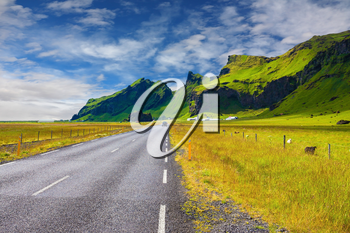 Circumferential highway around the island of Iceland. Mountains and green meadows