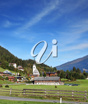 Charming Austrian province. Picturesque houses in green valley