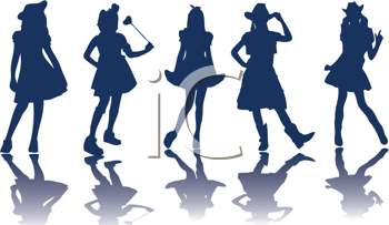 Royalty Free Clipart Image of Little Girls in Costume