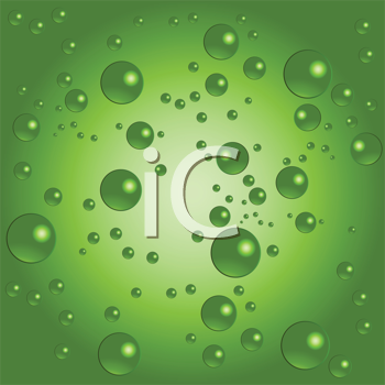 Royalty Free Clipart Image of Bubbles on a Green Background