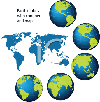 Royalty Free Clipart Image of Globes With Continents and a Map