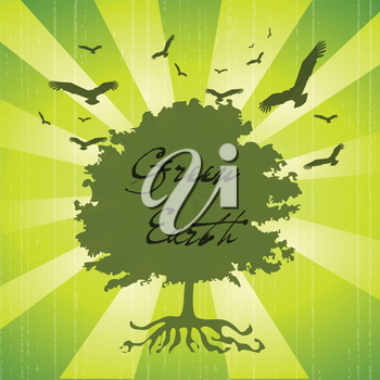 Royalty Free Clipart Image of a Green Tree With Birds