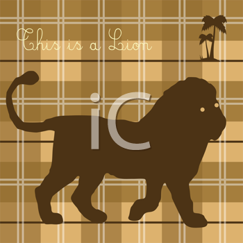 Royalty Free Clipart Image of a Lion on Plaid