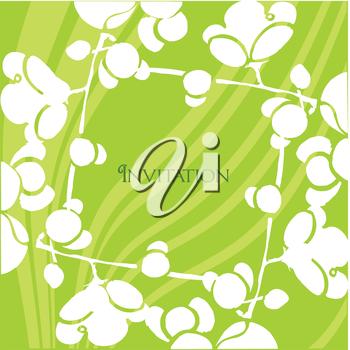 Royalty Free Clipart Image of an Invitation on a Green Background With White Swirling Flowers