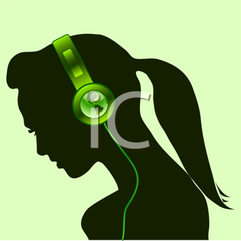 beautiful woman silhouette with green earth globe headsets