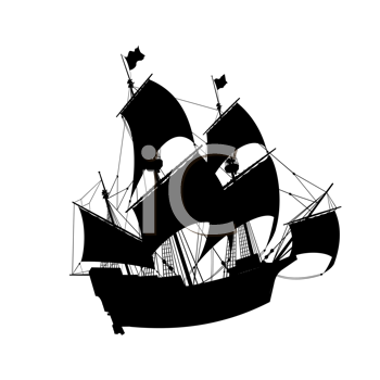 old ship vector silhouette