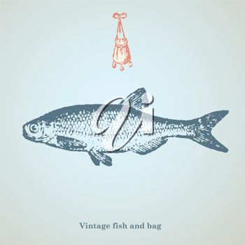 vintage fish and bag drawing
