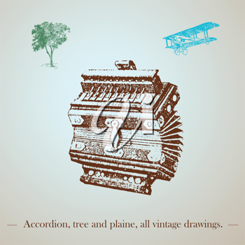 vintage accordion, tree and plane drawing
