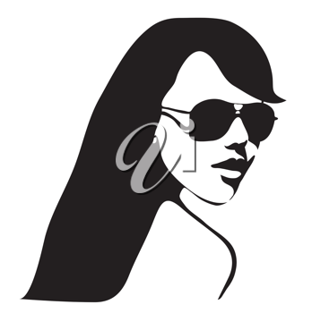 woman with long hair and sunglasses