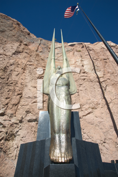 Royalty Free Photo of a Winged Statue at the Hoover Dam
