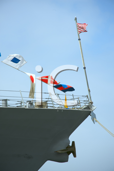 Royalty Free Photo of a Ship With Flags