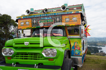 Traditional decorated bus from Guarne, Colombia, also called ladder bus