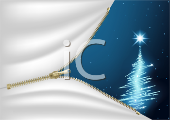 Royalty Free Clipart Image of a Christmas Tree Behind a Zipper