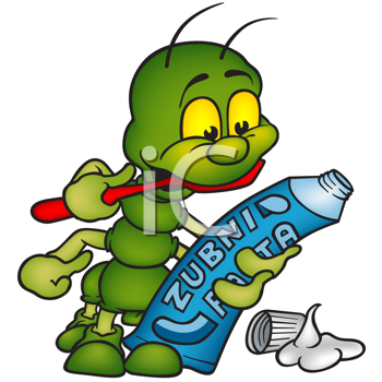 Royalty Free Clipart Image of a Wormy Creature With Toothpaste