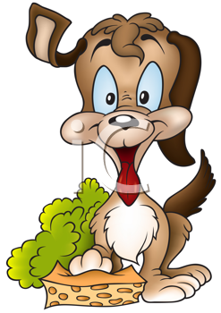 Royalty Free Clipart Image of a Happy Puppy With a Sponge