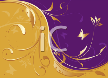 Royalty Free Clipart Image of a Floral and Butterfly Swirl Background of Gold and Purple