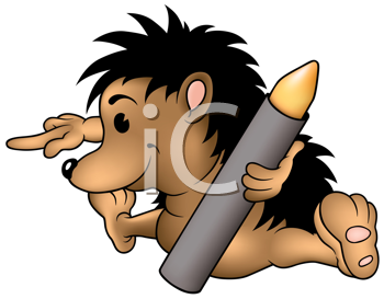 Royalty Free Clipart Image of a Hedgehog With a Crayon