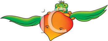 Royalty Free Clipart Image of a Parrot in Flight