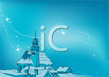 Royalty Free Clipart Image of a Snowy Christmas Night in a Town
