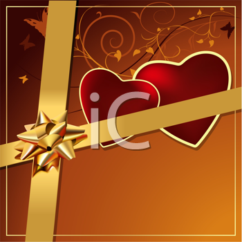 Royalty Free Clipart Image of a Gift With Two Hearts and a Bow