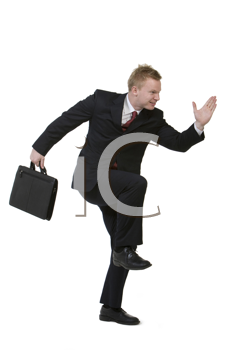 Royalty Free Photo of a Businessman Miming Running