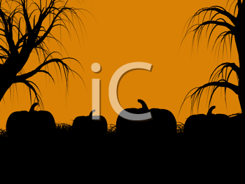 Royalty Free Clipart Image of a Pumpkin Patch