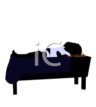 Royalty Free Clipart Image of a Baby in a Manger