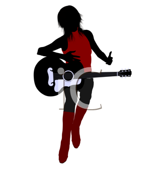 Royalty Free Clipart Image of a Female Guitarist
