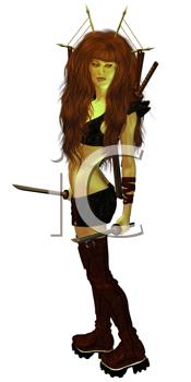 Royalty Free Clipart Image of a Warrior Woman With Swords